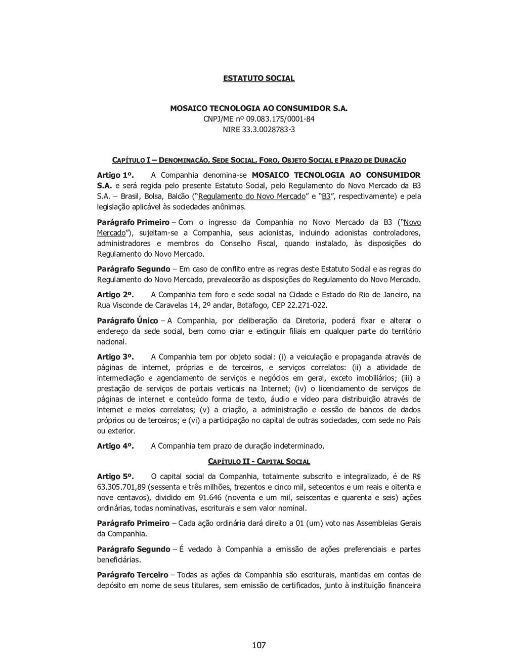SP - 28538257v1 ESTATUTO SOCIAL MOSAICO TECNOLO...