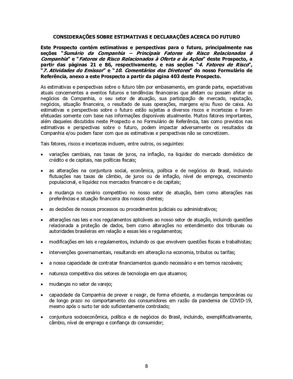 8 CONSIDERAÇÕES SOBRE ESTIMATIVAS E DECLARAÇÕES...