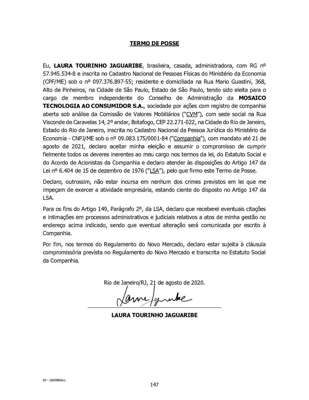 SP - 28509900v1 TERMO DE POSSE Eu, LAURA TOURIN...