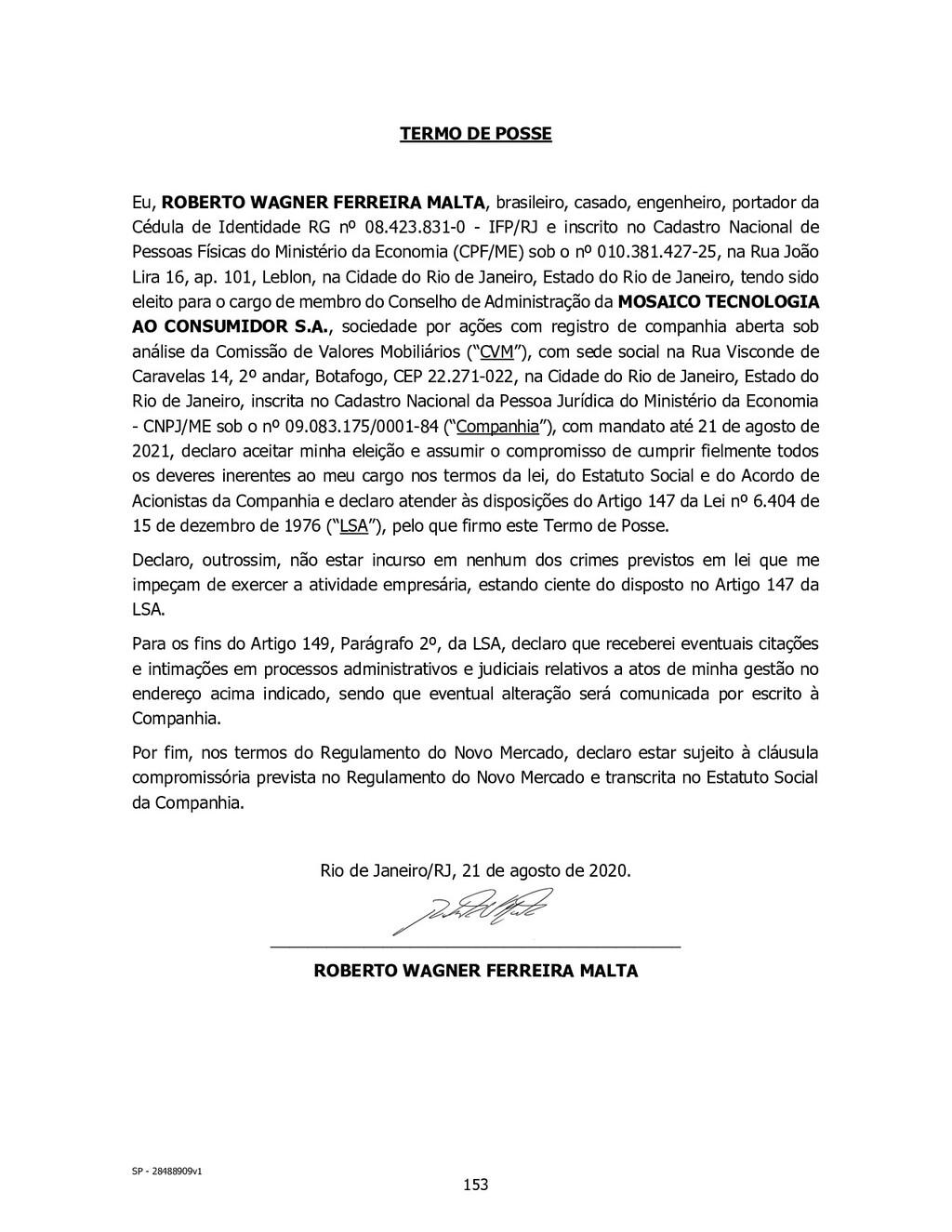 SP - 28488909v1 TERMO DE POSSE Eu, ROBERTO WAGN...