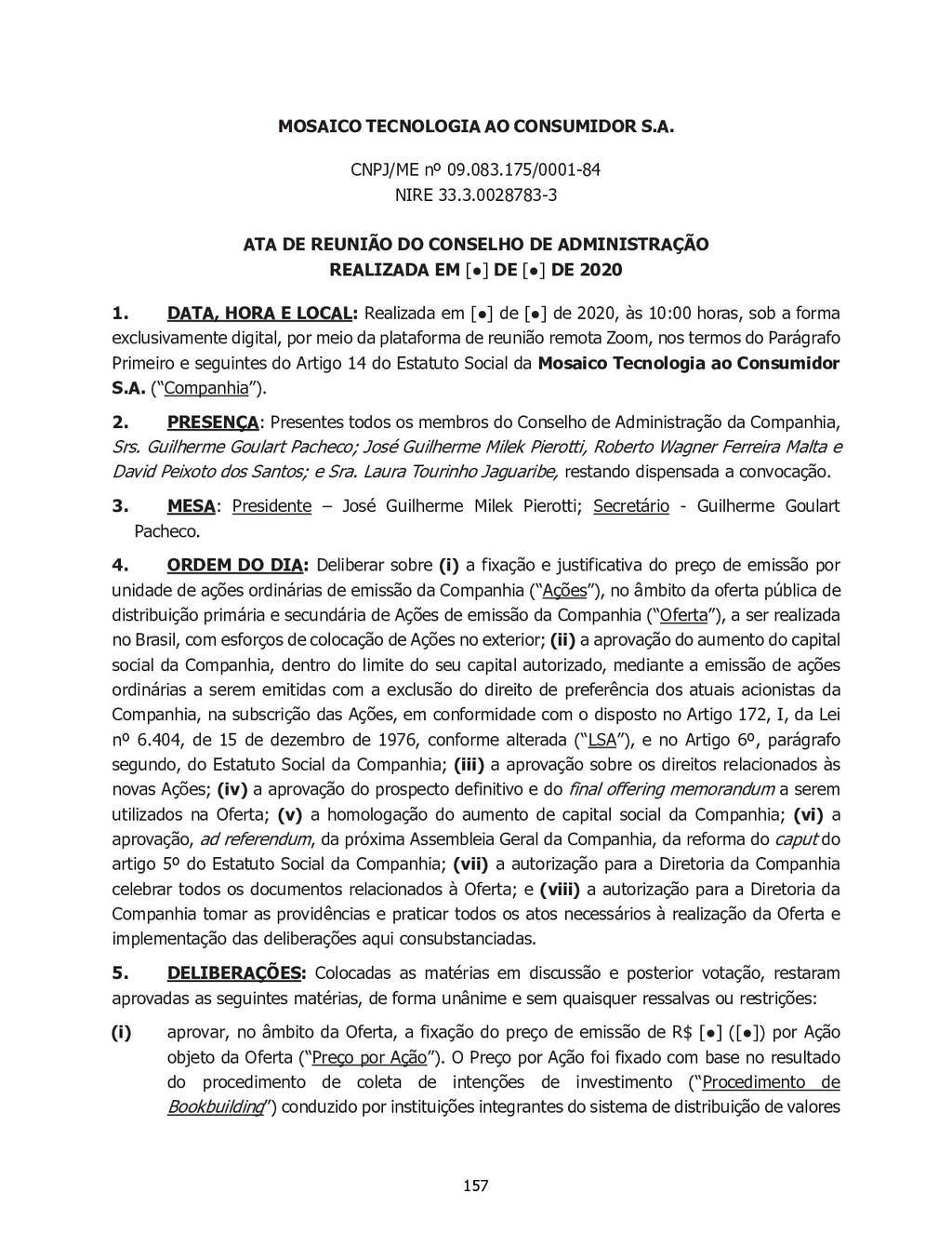 MOSAICO TECNOLOGIA AO CONSUMIDOR S.A. CNPJ/ME n...