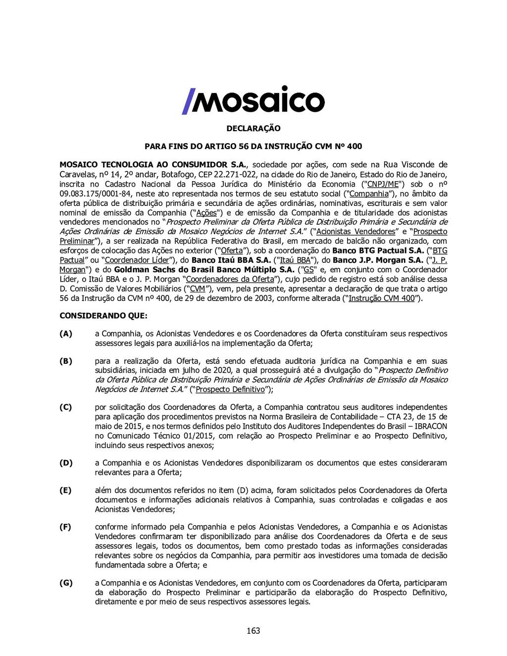 DECLARAÇÃO PARA FINS DO ARTIGO 56 DA INSTRUÇÃO ...