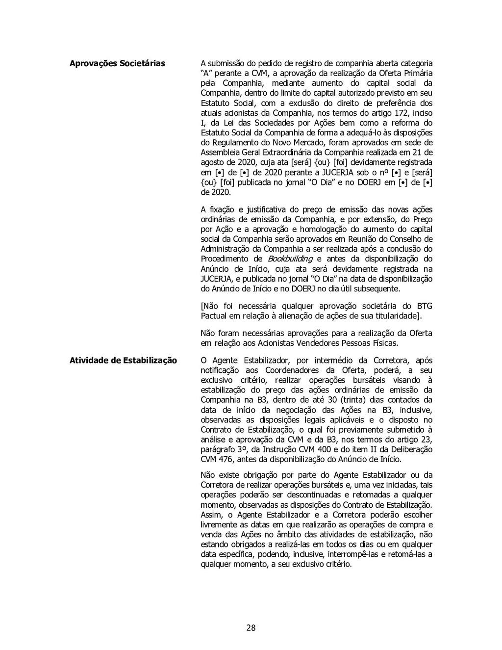 28 Aprovações Societárias A submissão do pedido...