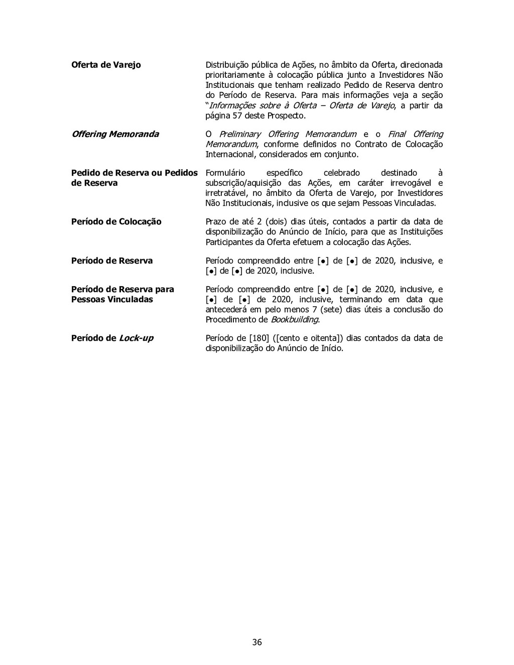 36 Oferta de Varejo Distribuição pública de Açõ...
