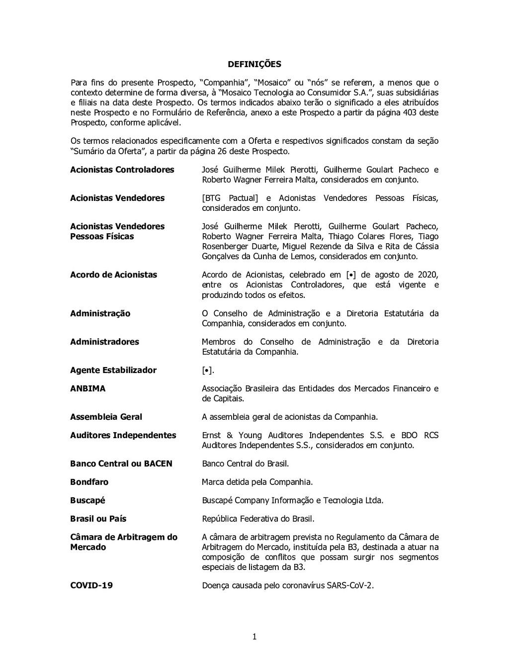 """1 DEFINIÇÕES Para fins do presente Prospecto, """"..."""