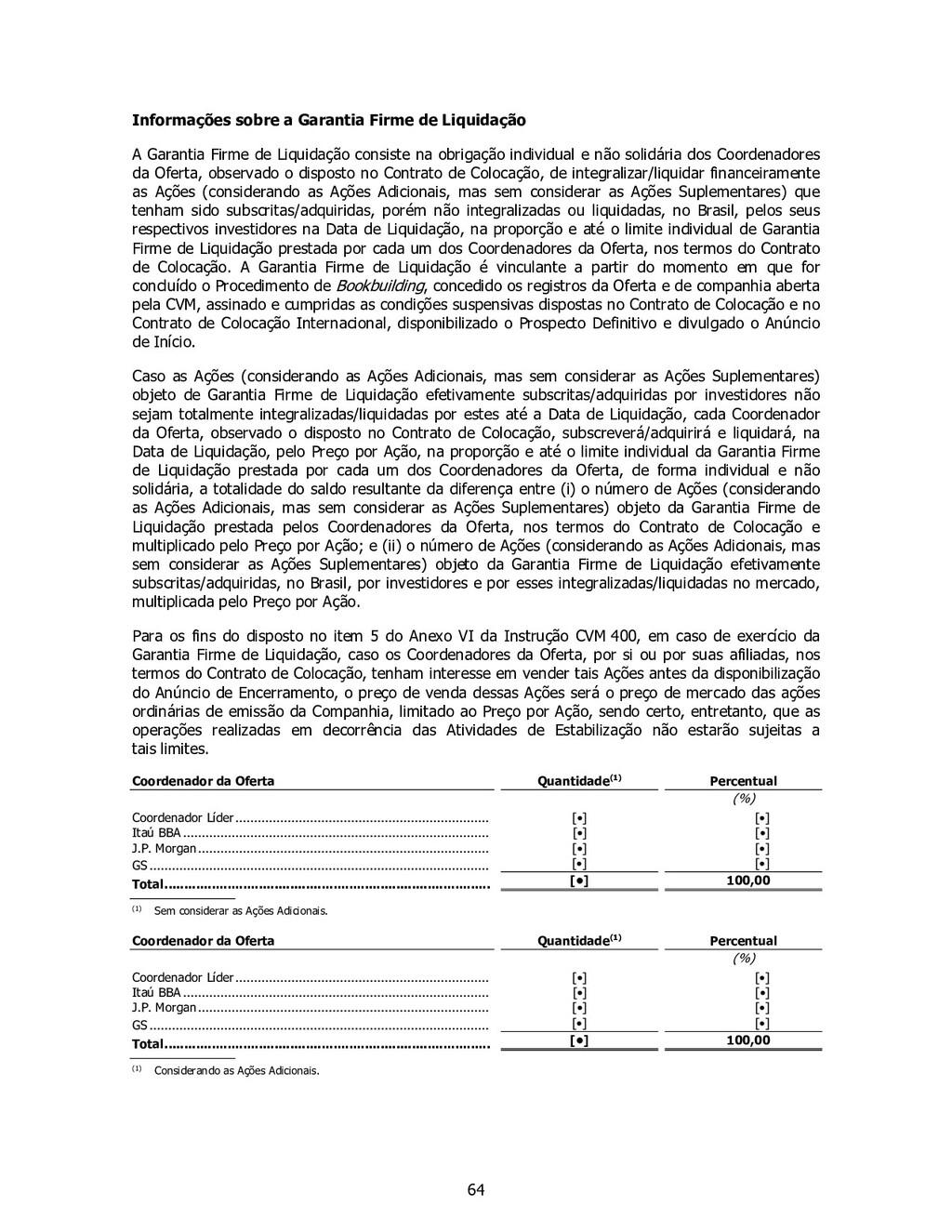 64 Informações sobre a Garantia Firme de Liquid...