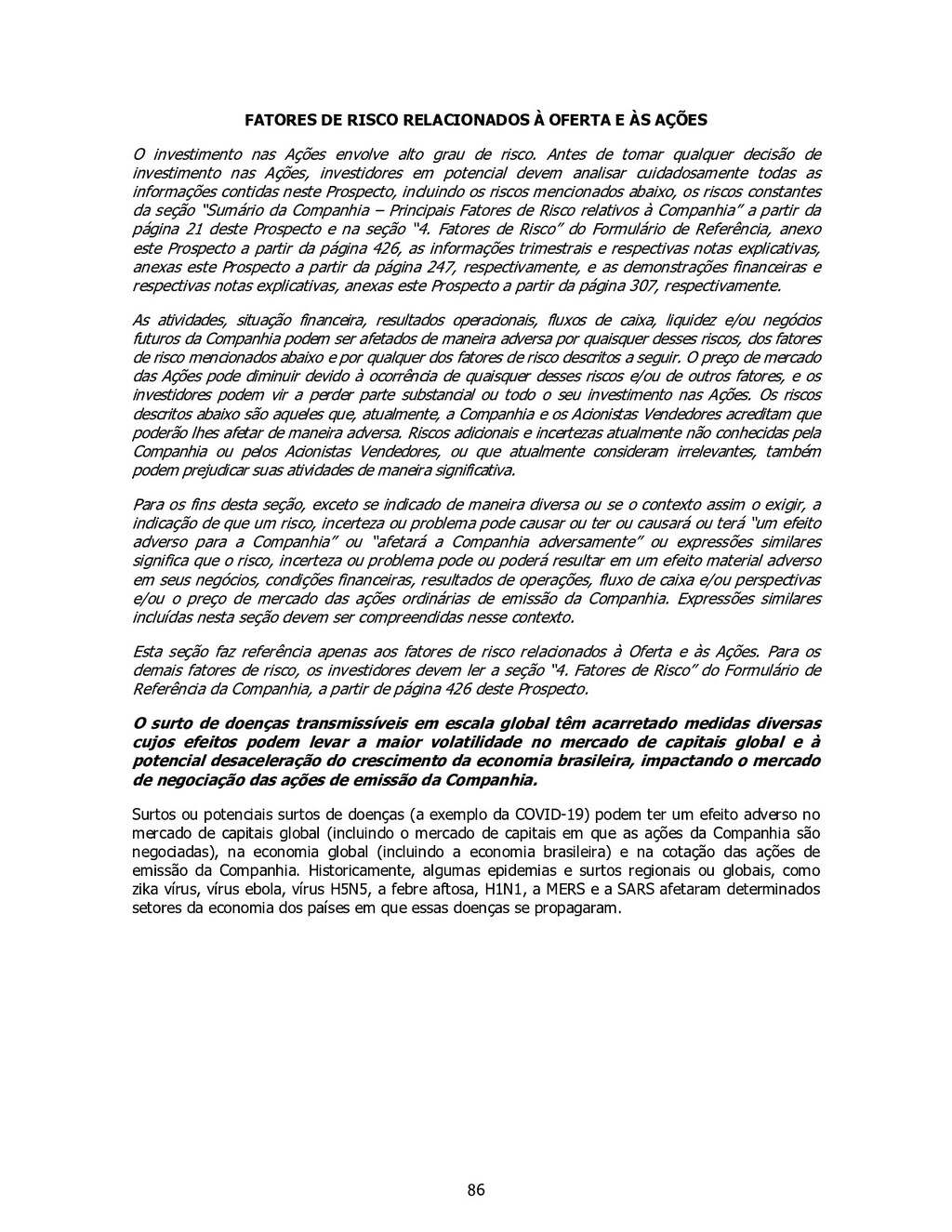 86 FATORES DE RISCO RELACIONADOS À OFERTA E ÀS ...