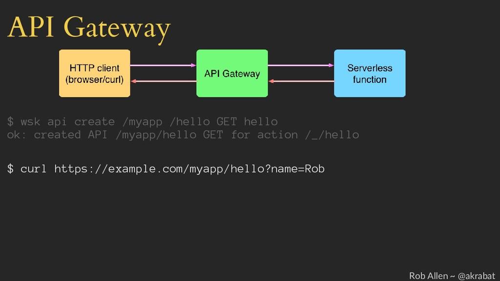 API Gateway $ wsk api create /myapp /hello GET ...