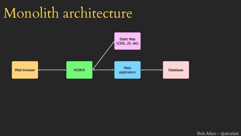 Monolith architecture Rob Allen ~ @akrabat