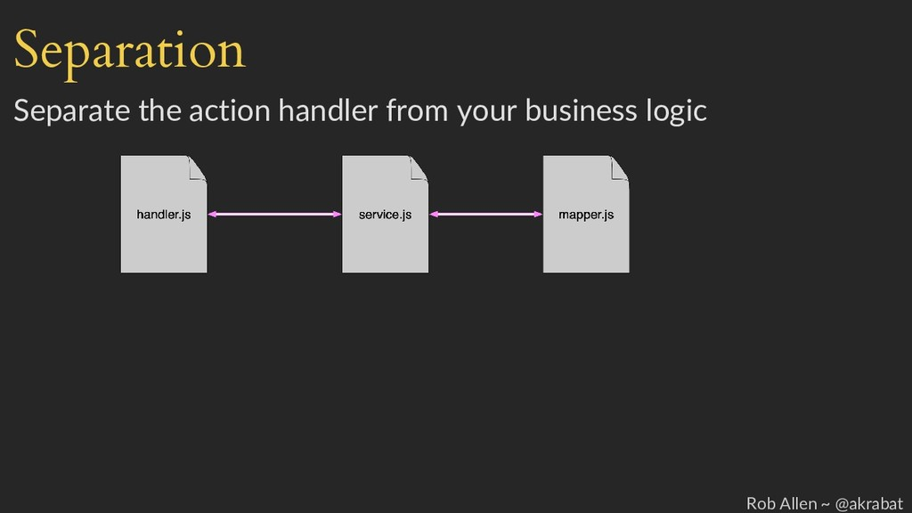Separation Separate the action handler from you...