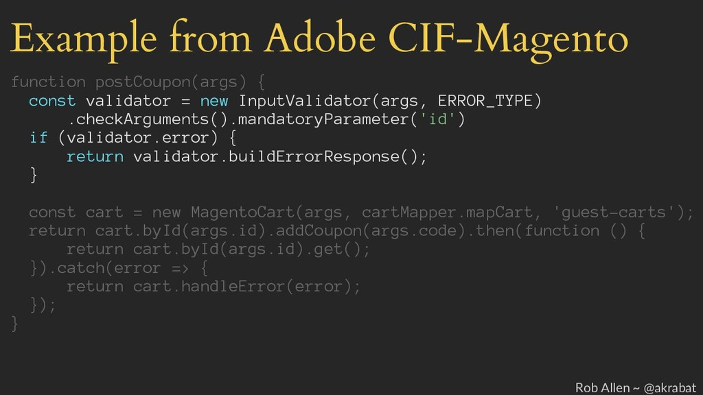 Example from Adobe CIF-Magento function postCou...