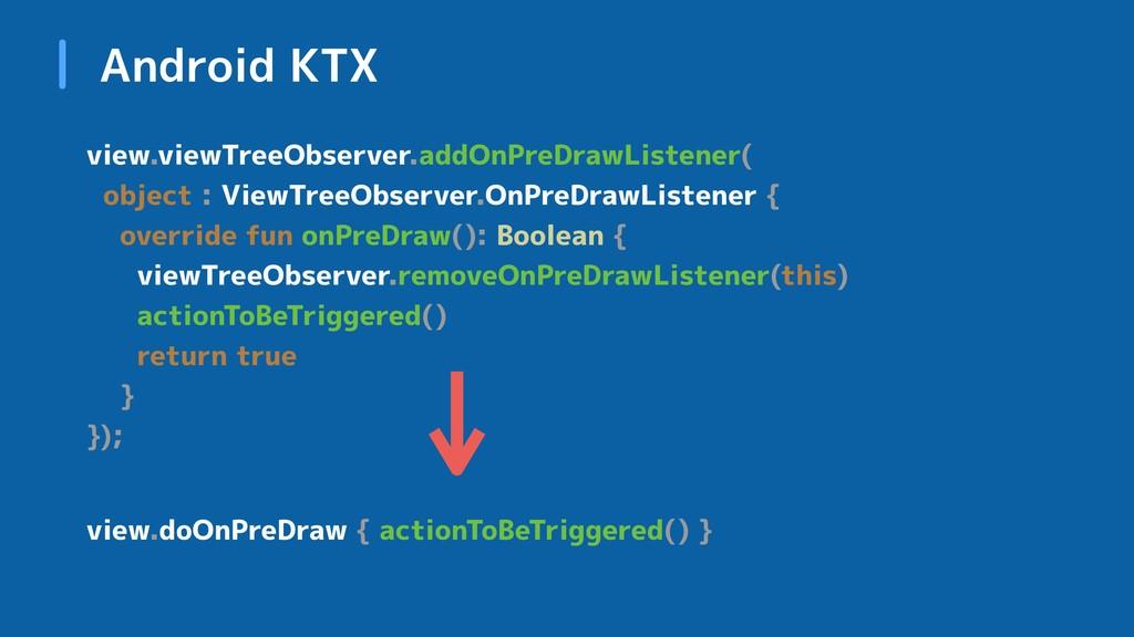 Android KTX view.viewTreeObserver.addOnPreDrawL...