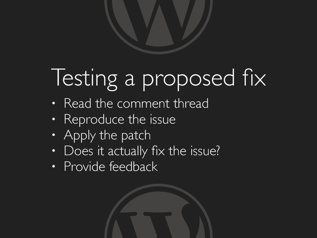 Testing a proposed fix • Read the comment thread...