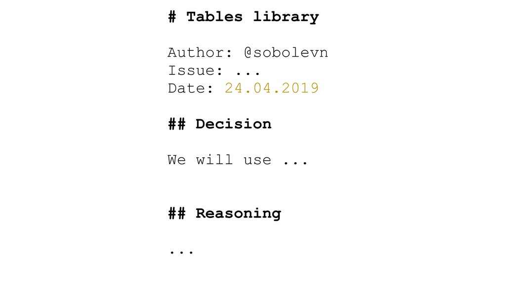 # Tables library Author: @sobolevn Issue: ... D...