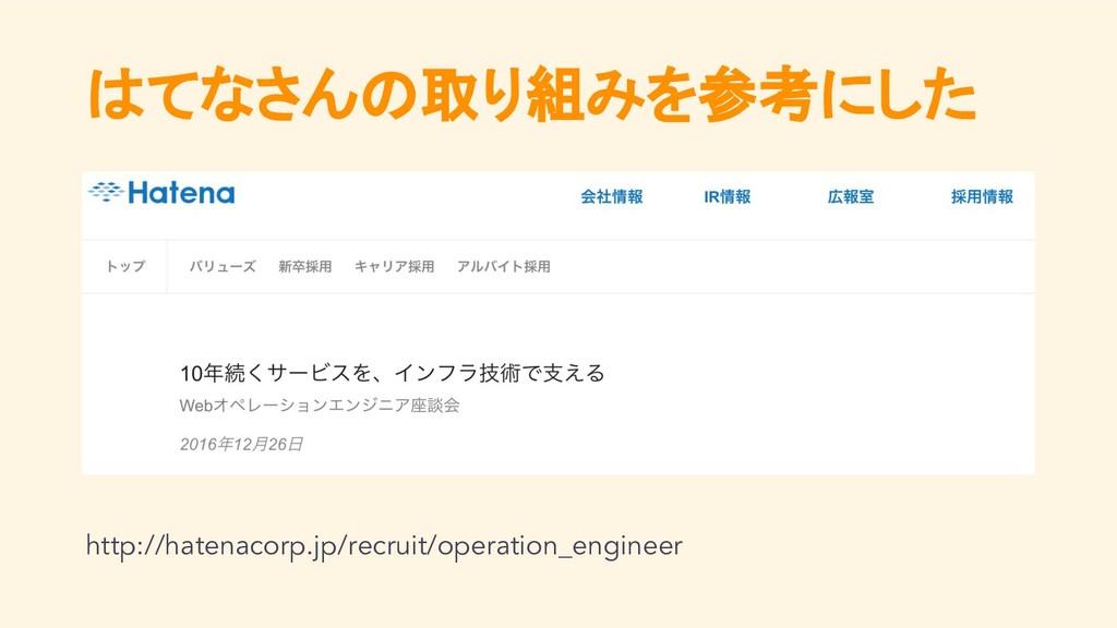 はてなさんの取り組みを参考にした http://hatenacorp.jp/recruit/o...
