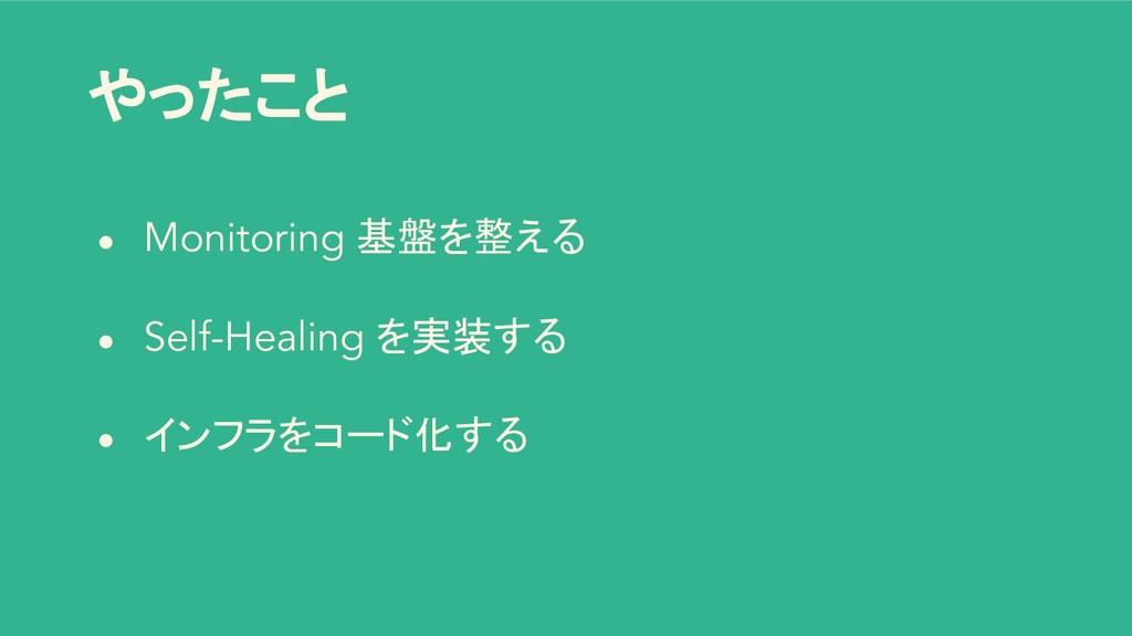 やったこと ● Monitoring 基盤を整える ● Self-Healing を実装する ...
