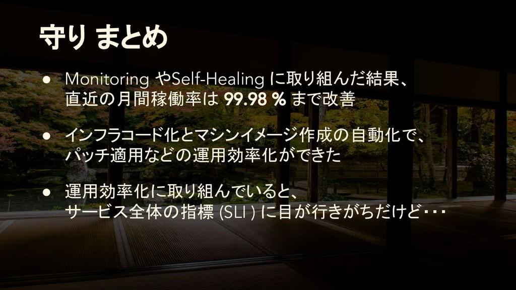 守り まとめ ● Monitoring やSelf-Healing に取り組んだ結果、 直近の...