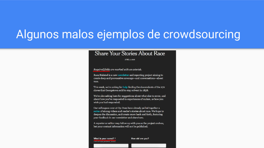 Algunos malos ejemplos de crowdsourcing