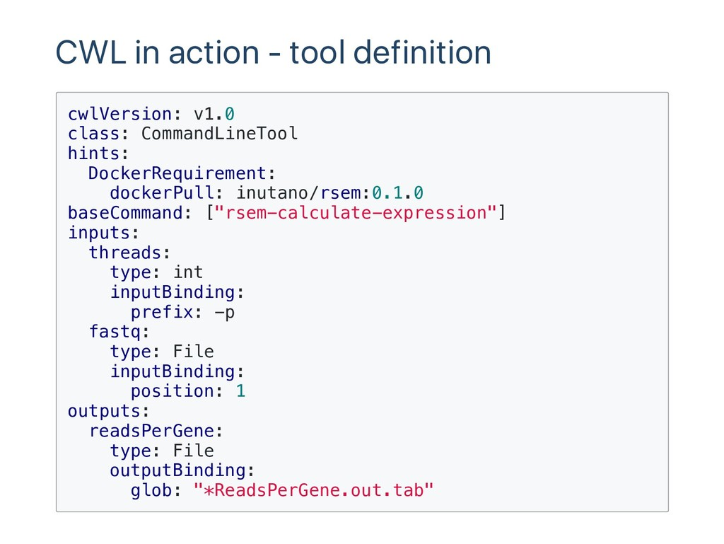 CWL in action ‑ tool definition c w l V e r s i...