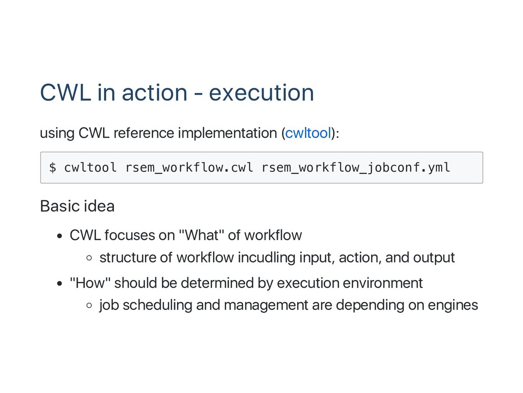 CWL in action ‑ execution using CWL reference i...