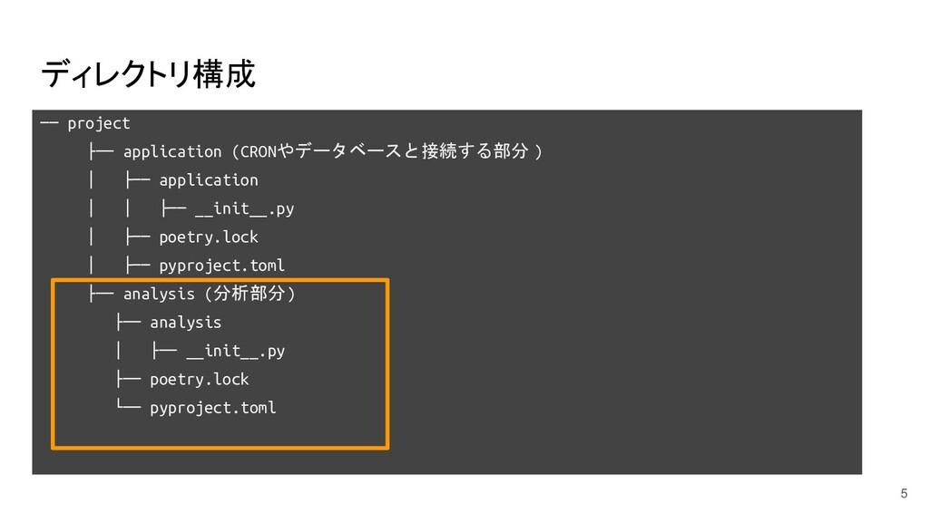 ディレクトリ構成 ── project ├── application (CRONやデータベー...