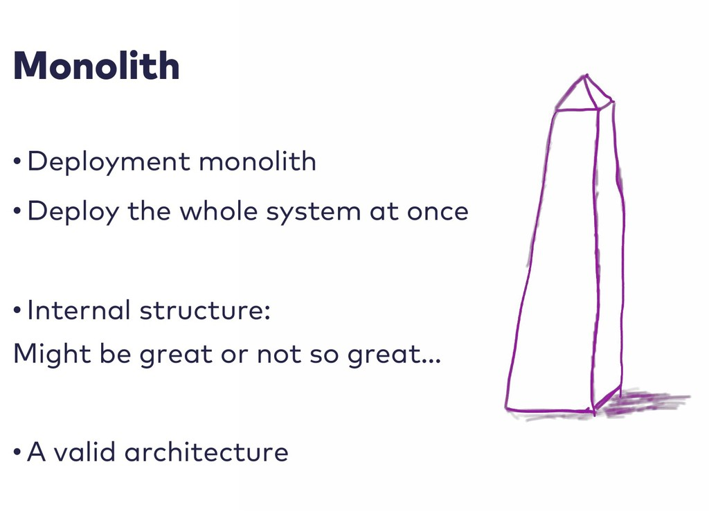Monolith • Deployment monolith • Deploy the who...
