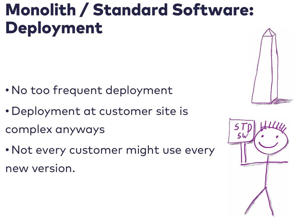 Monolith / Standard Software: Deployment • No t...