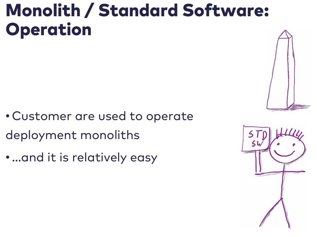 Monolith / Standard Software: Operation • Custo...