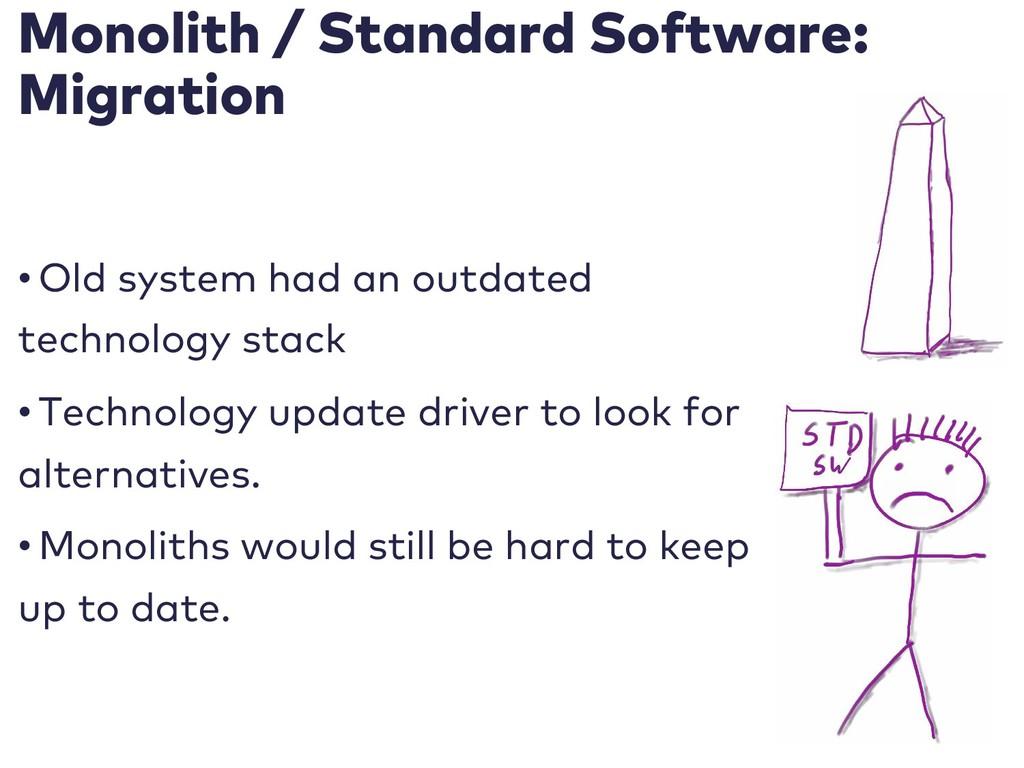 Monolith / Standard Software: Migration • Old s...