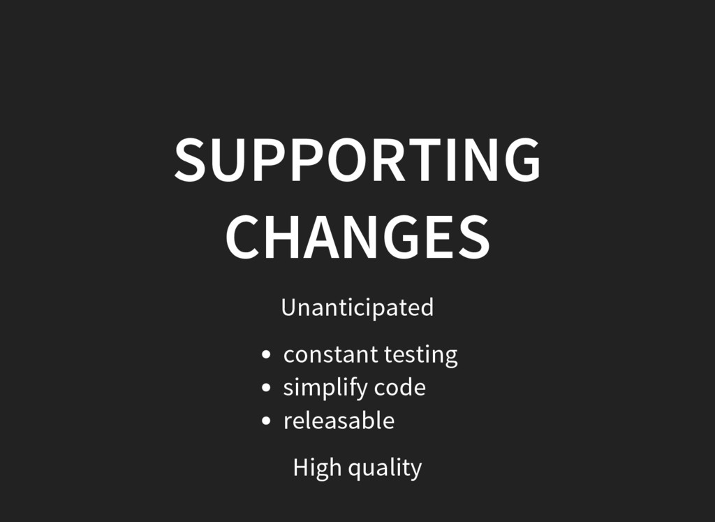 SUPPORTING CHANGES Unanticipated constant testi...
