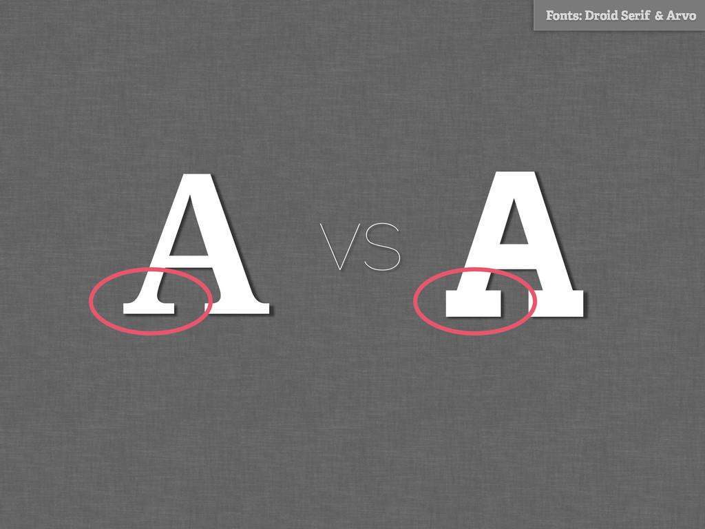 A Fonts: Droid Serif & Arvo A vs