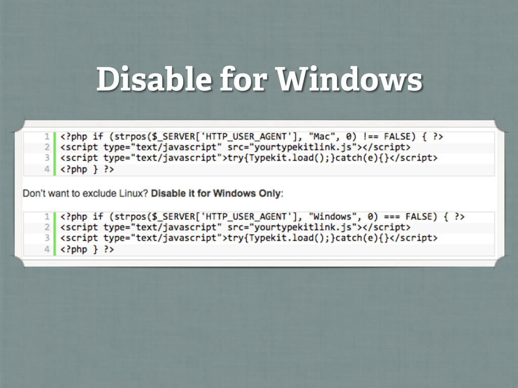 Disable for Windows