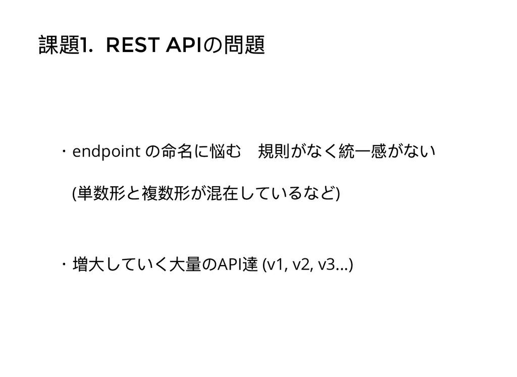 課題1. REST API の問題 ・endpoint の命名に悩む 規則がなく統⼀感がない ...
