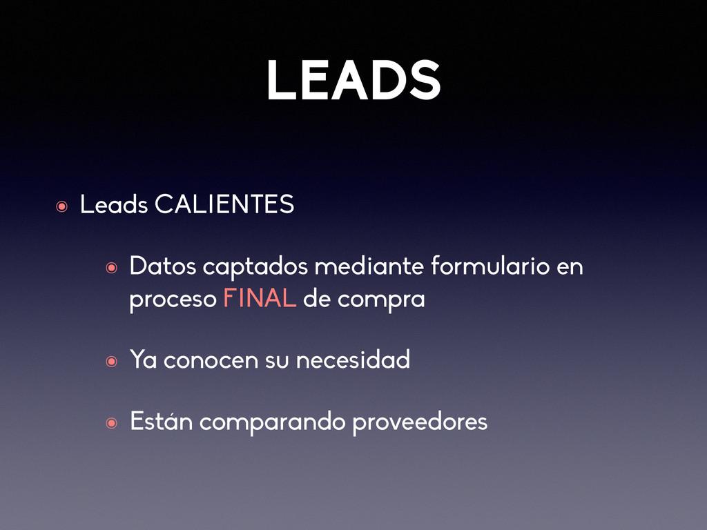 LEADS ๏ Leads CALIENTES ๏ Datos captados median...