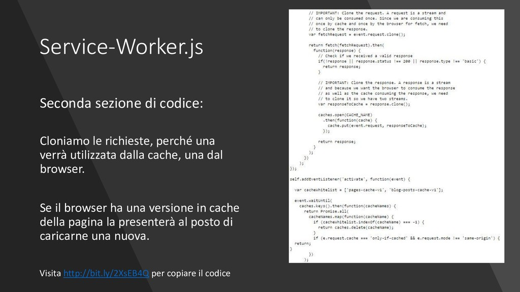 Service-Worker.js Seconda sezione di codice: Cl...