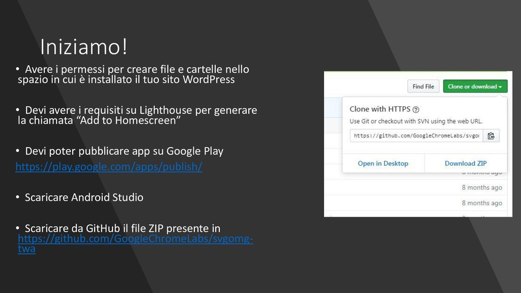 Iniziamo! • Avere i permessi per creare file e ...
