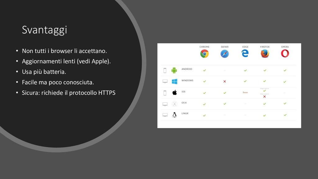 Svantaggi • Non tutti i browser li accettano. •...