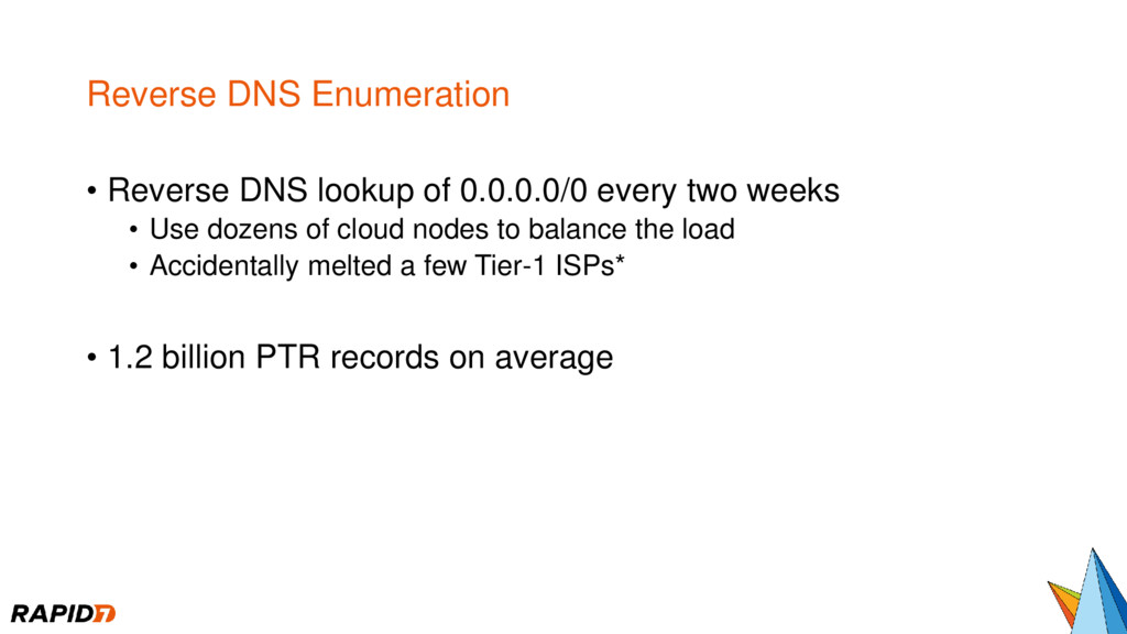 Reverse DNS Enumeration • Reverse DNS lookup of...