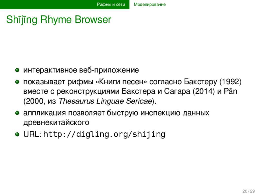 Рифмы и сети Моделирование Shījīng Rhyme Browse...