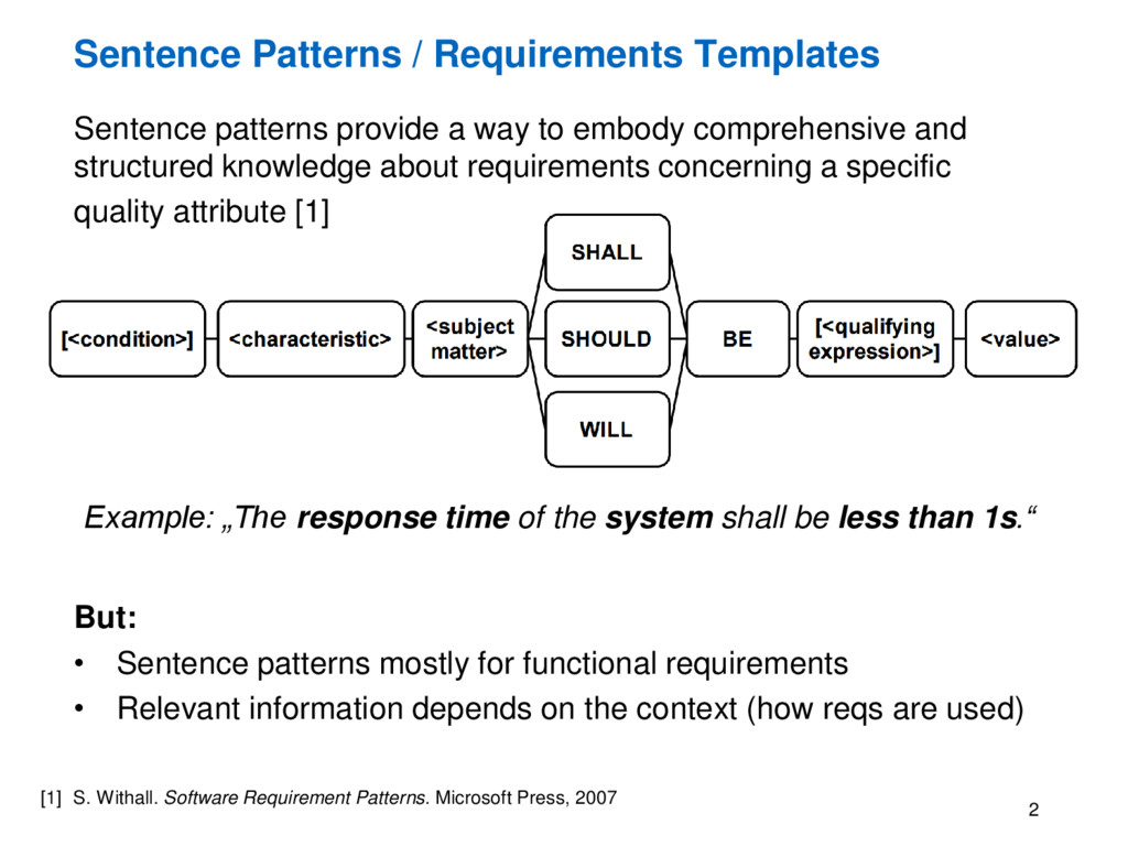 Sentence Patterns / Requirements Templates Sent...