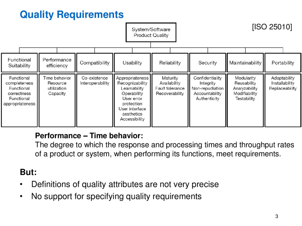 Quality Requirements But: • Definitions of qual...