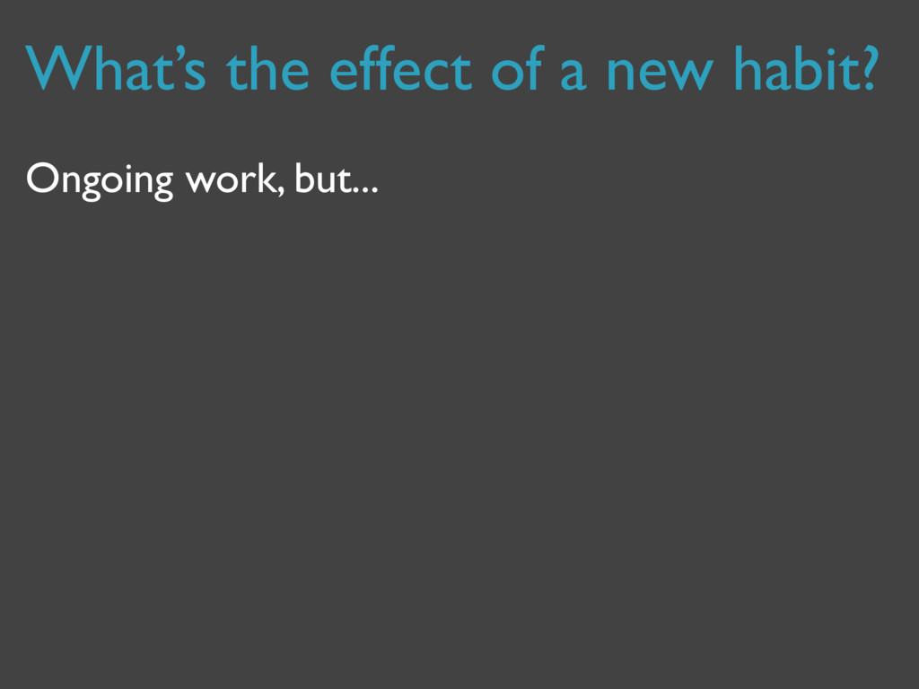 What's the effect of a new habit? Ongoing work,...