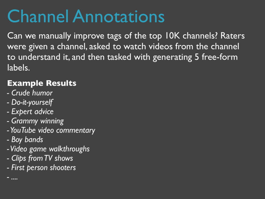 Channel Annotations Can we manually improve tag...