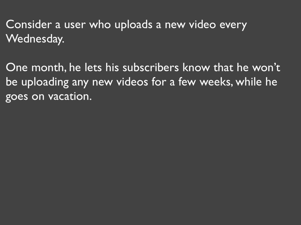 Consider a user who uploads a new video every W...