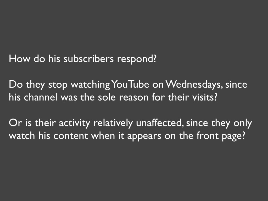 How do his subscribers respond? Do they stop wa...