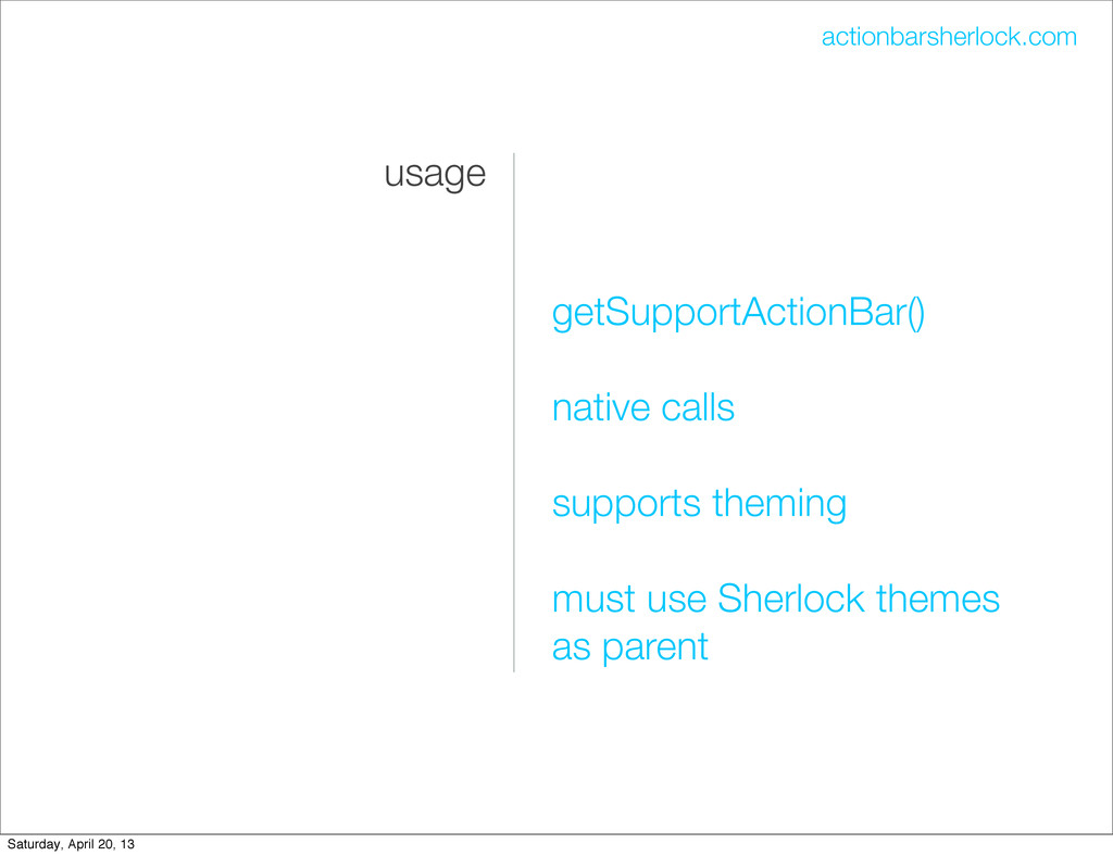 usage getSupportActionBar() native calls suppor...