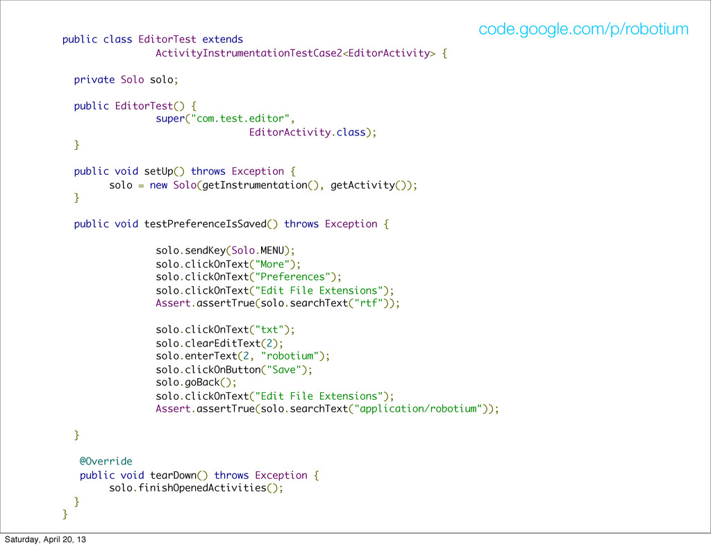 public class EditorTest extends ActivityInstrum...