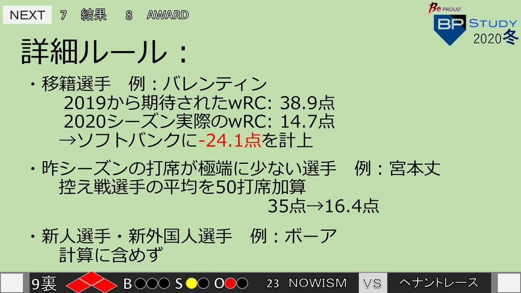 NEXT NEXT 詳細ルール : 2020冬 ・移籍選⼿ 例︓バレンティン 2019から期待...