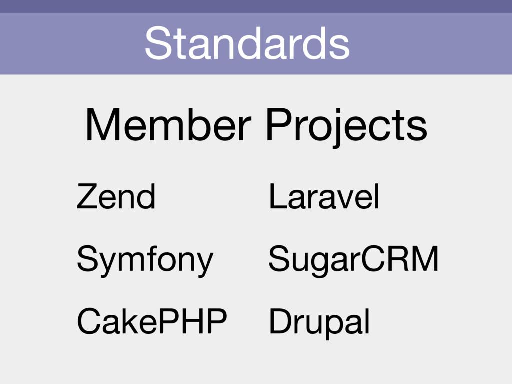 Standards Member Projects Zend  Symfony  CakePH...