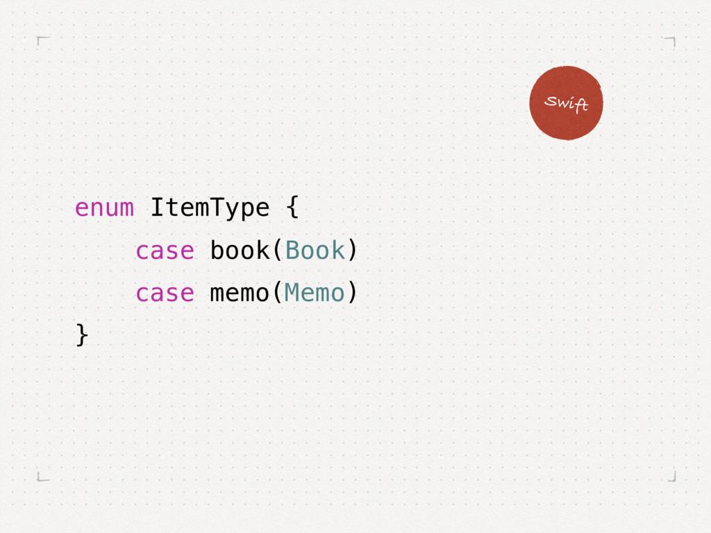 enum ItemType { case book(Book) case memo(Memo)...